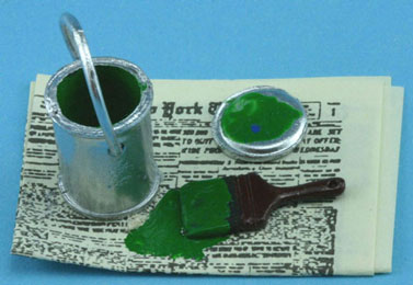Dollhouse Miniature Paint Can On Paper