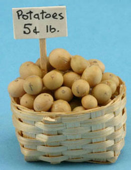 Dollhouse Miniature Basket Of Potatoes