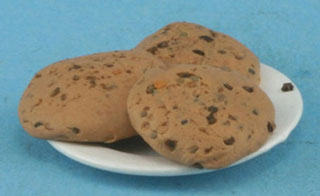 Dollhouse Miniature Chocolate Chip Cookies On Plate