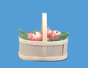 Dollhouse Miniature Basket with Apples