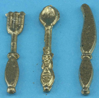 Dollhouse Miniature Silverware-Gold, 3Pc