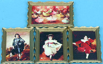 Dollhouse Miniature Large Framed Pictures, Classic, 4 Pcs