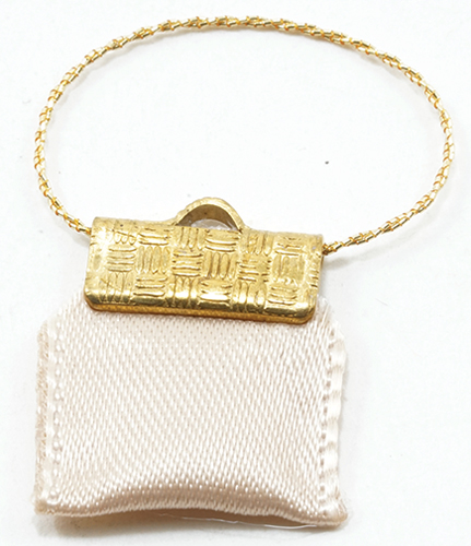 Dollhouse Miniature Clutch Purse Beige Satin