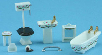 "Dollhouse Miniature 1/4"" Scale Bathroom Set White with Pink"