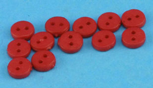 Dollhouse Miniature Buttons 4Mm Red 12Pcs