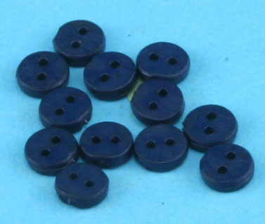 Dollhouse Miniature Buttons 4 mm Navy 12Pcs