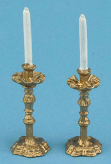 Dollhouse Miniature Pair Of Candlesticks