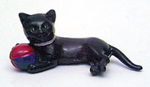 Dollhouse Miniature Cat with Ball