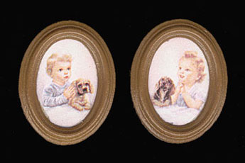 Dollhouse Miniature Pals At Prayer/Br Oval 2 Pc