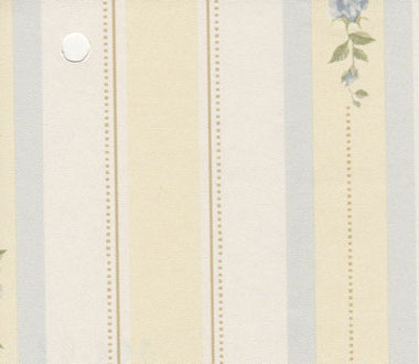 Dollhouse Miniature Pre-pasted Wallpaper, Blue Rose Stripe