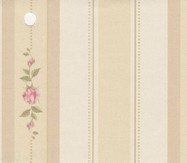 Dollhouse Miniature Pre-pasted Wallpaper, Pink Rose Stripe