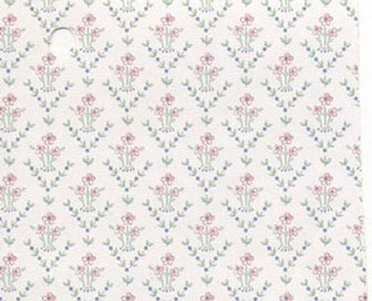 Dollhouse Miniature Pre-pasted Wallpaper, Pretty Bitsy Pink Bouquet