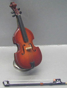 Dollhouse Miniature Cello with Case and  Wooden Stand