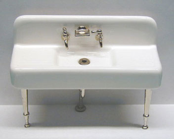 Dollhouse Miniature 20'S Sink - Chrome Legs