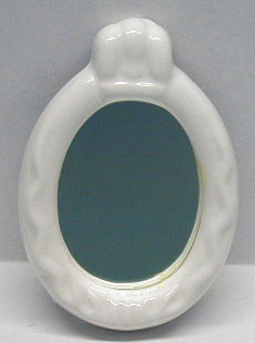 Dollhouse Miniature Oval Bath Mirror - Ceramic