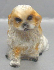 Dollhouse Miniature Spaniel - White/Sable - Sitting