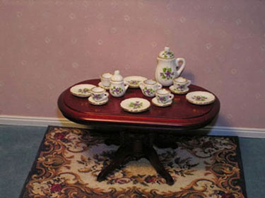 Dollhouse Miniature 15 Pc Dinner Set-Gold/Flower
