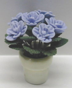 Dollhouse Miniature Blue Roses In Clay Pot 1 1/8