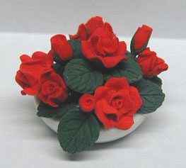 Dollhouse Miniature Red Roses Center Piece