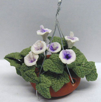 Dollhouse Miniature White/Lavendar Lilies-Hanging