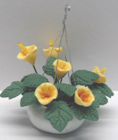 Dollhouse Miniature Hanging-Yellow Lilies 2 3/8