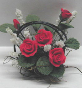 Dollhouse Miniature Red Roses/Wire Basket 1 1/4