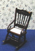 Dollhouse Miniature Walnut-Rocking Chair