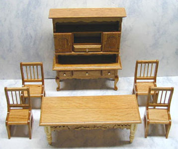 Dollhouse Miniature True Oak-8 Pc Dining Room