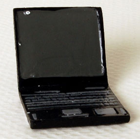 Dollhouse Miniature Laptop Computer 7/8 In Wide