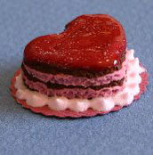 Dollhouse Miniature Cake, Valentine, Red