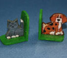 Dollhouse Miniature Bookend, Cat/Dog