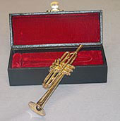 "Dollhouse Miniature 5"" Trumpet with Case"