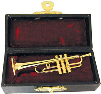"Dollhouse Miniature 2 1/2"" Trumpet with Case"