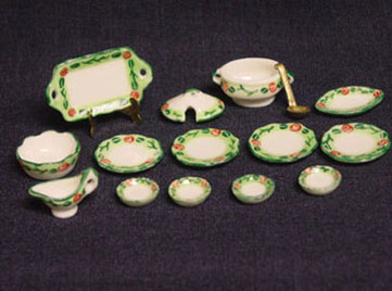 Dollhouse Miniature 15 Pcs Dinner Set Gold