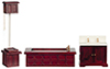 Dollhouse Miniature Victorian Bath Set, 3 pc., Mahogany