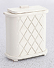 Dollhouse Miniature Clothes Hamper, White