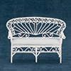 Dollhouse Miniature Settee, White Wire