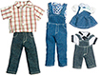 Dollhouse Miniature Denim Outfits, 4 Sets