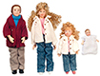 Dollhouse Miniature Modern Doll Family Set, 4 pc