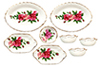 Dollhouse Miniature Bowls/Oval Plate, Red Rose, 8pc