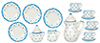 Dollhouse Miniature Blue Dots Tea Set, 17 pc
