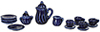 Dollhouse Miniature Cobalt Blue China Set, 17 pc