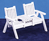 Dollhouse Miniature Lawn Love Seat, White