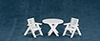 Dollhouse Miniature Outdoor Table and Chairs, 3Pc