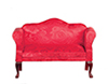 Dollhouse Miniature Queen Anne Loveseat, Red, Mahogany