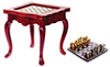 Dollhouse Miniature Inlaid Game Table, Mahogany