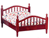 Dollhouse Miniature Double Bed, Mahogany