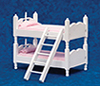 Dollhouse Miniature Bunkbeds with Ladder, Pink & White