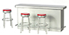 Dollhouse Miniature1950S Counter, 3-Stools, red