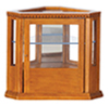 Dollhouse Miniature Corner Display Cabinet, Walnut